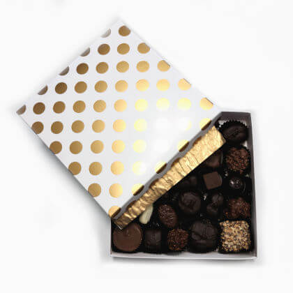 Assorted Chocolates Gold Dots Box 14 oz